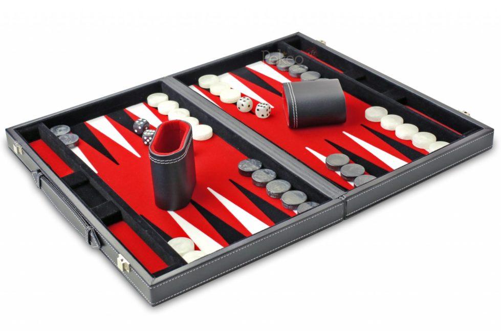 Backgammon Feutrine Rouge 38 cm