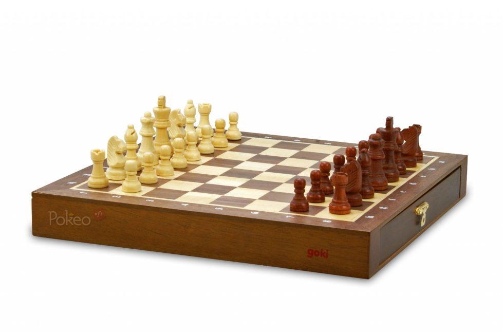 Jeu d'échecs en bois avec tiroir magnétique 25 cm