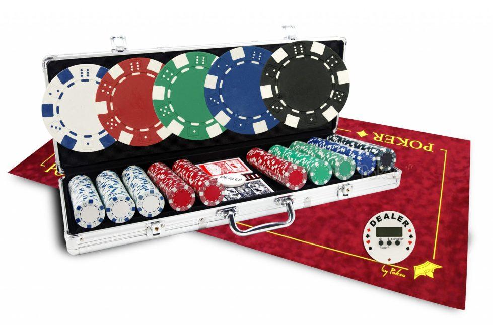 Starter Pack : Mallette Dice 500 jetons + Bouton dealer électronique + Tapis de poker