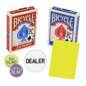 Baspaket för poker med kortlekar, cut cards och buttons