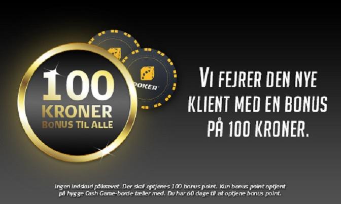 Få 100 kr. på Danske Spil Poker uden krav om indskud