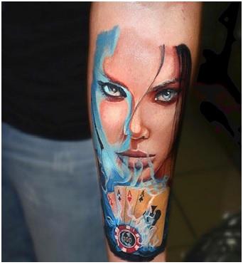 Art In Poker Tattoo