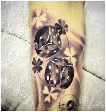 Flowers And Dice Tattoo