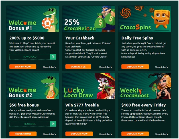 Play Croco Casino Bonuses to grab