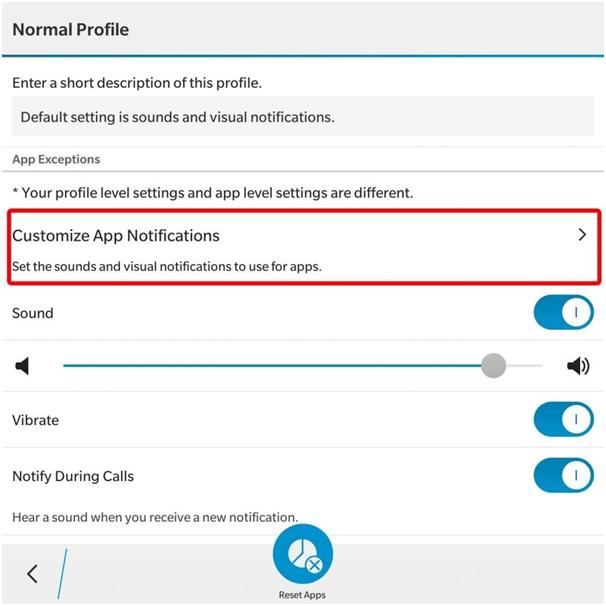 BlackBerry App Notifications Settings