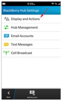BlackBerry Hub Settings