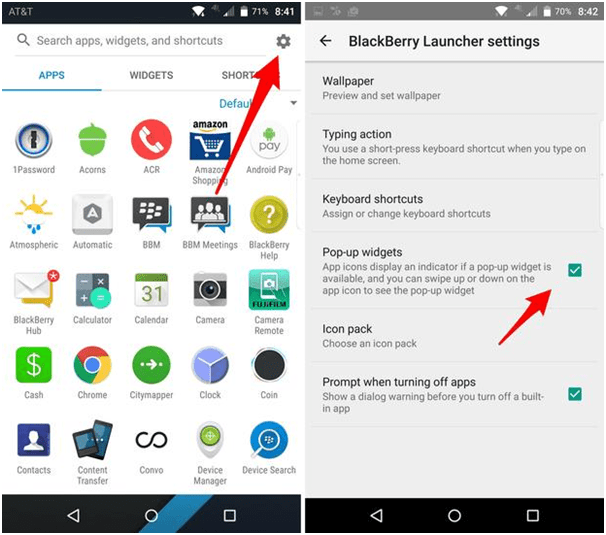 How to enable BB pop up widget