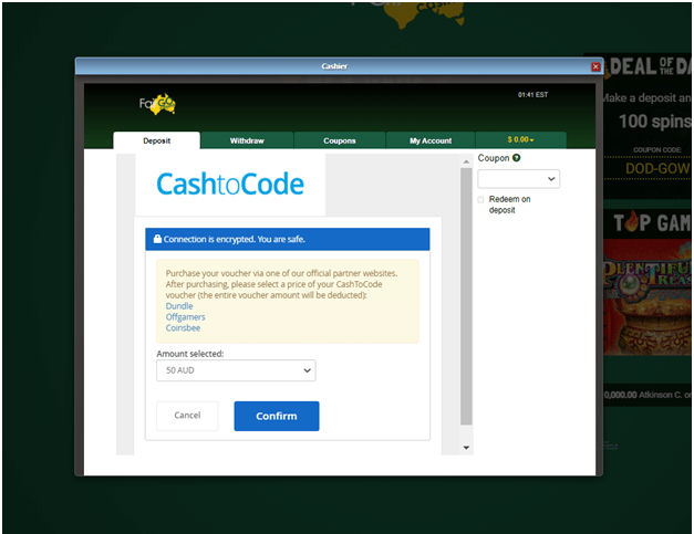 Cash to code deposits at casinos