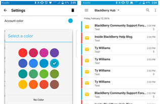 How to color code blackberry hub