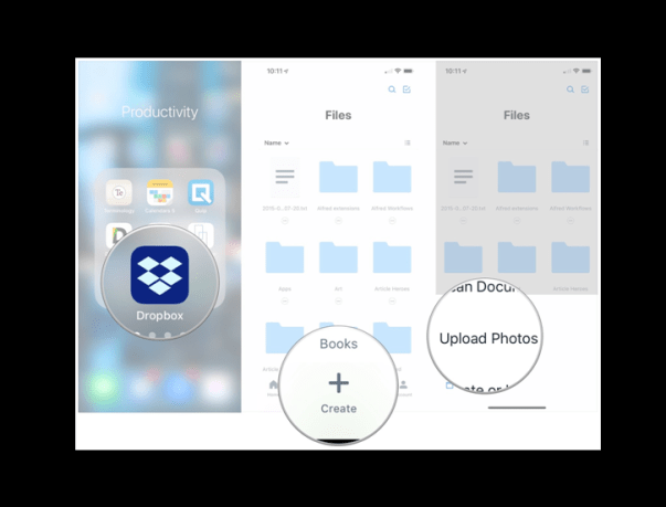 Upload photos with dropbox on iPad