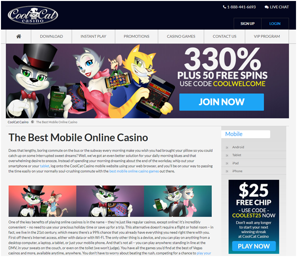 Cool Cat Casino $25 no deposit