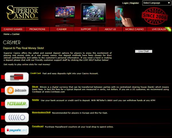 superior casino cashier