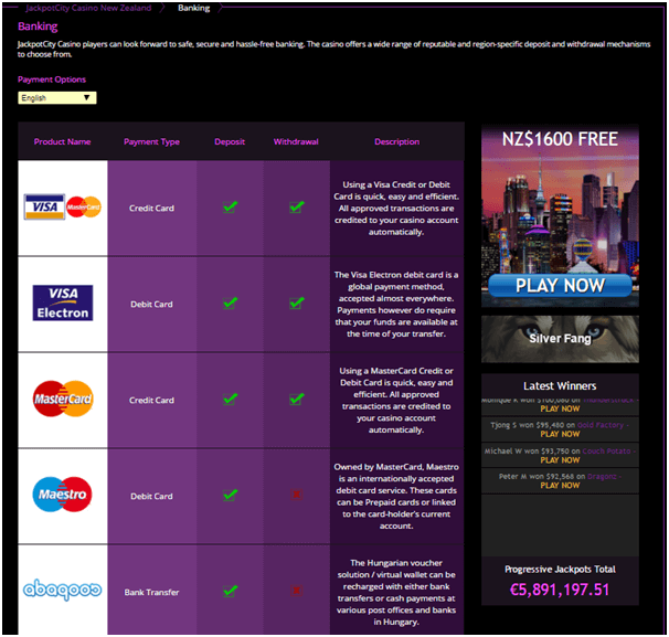 You will find many NZ friendly deposit options at Jackpot City online casino