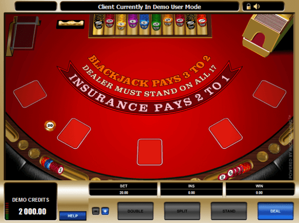 High limit European Blackjack- Game play