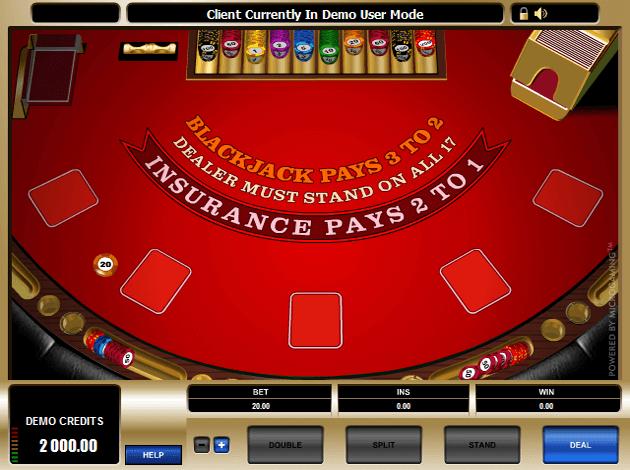 High limit European Blackjack- Game play