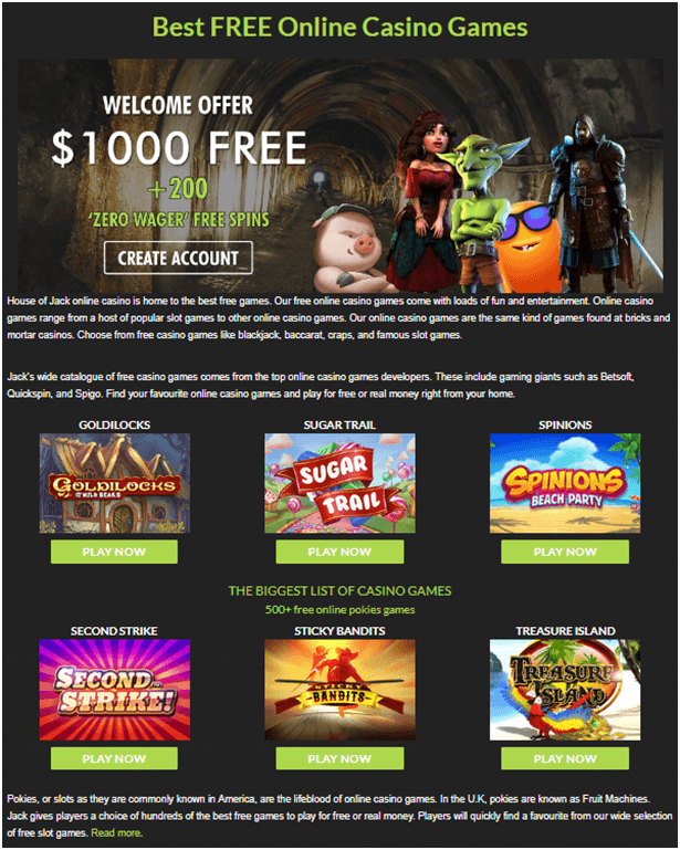 House of Jack Casino- Games to enjoy