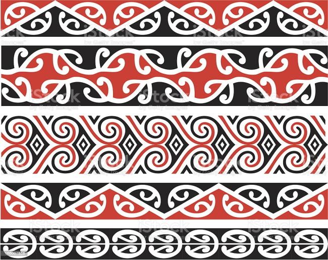 Seamless Maori Kowhaiwhai pattern designs in color.
