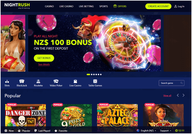 Night Rush online casino NZ