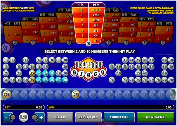 Play Super Bonus Bingo with RTP of 95.39%