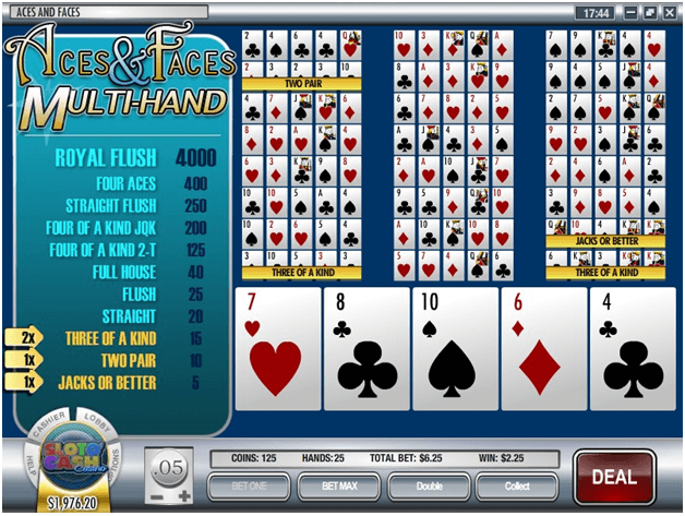 Aces and Faces Multihand poker