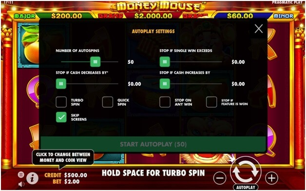 Auto play feature in money mouse pokies