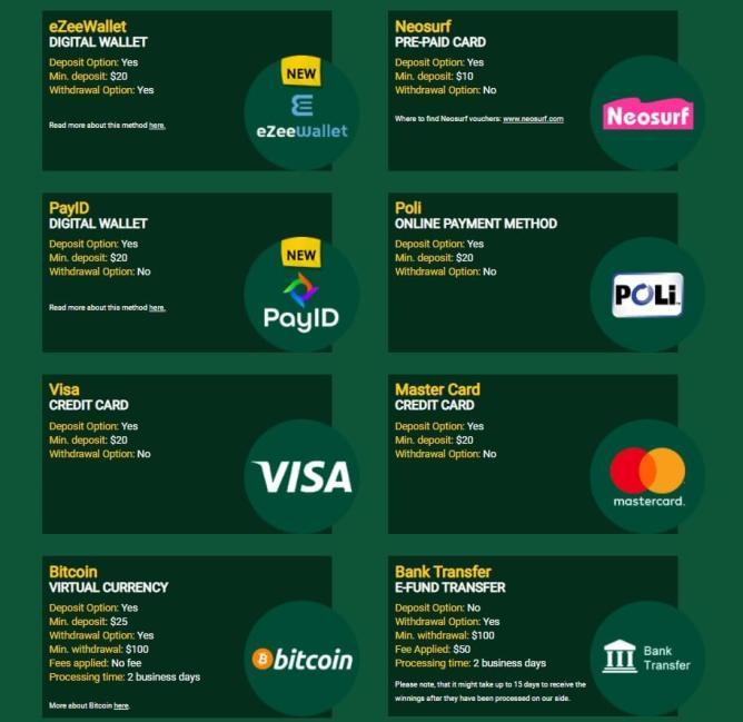 Banking methods at casinos