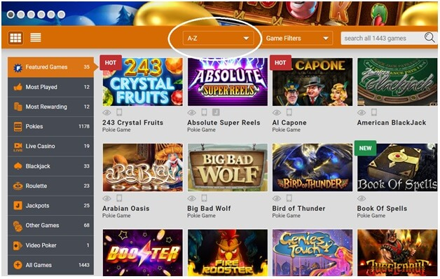 Casino Filters in an online casino