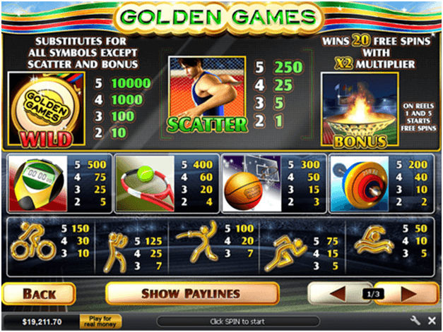 Scatter, Wild and Free Spins Bonus at Goldem Games