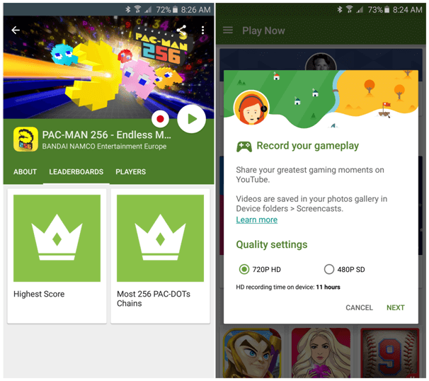 Find new games at Google Play games