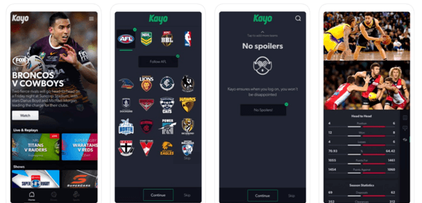 Kayo Sports App for mobile