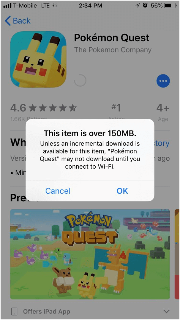 Download large app without WIFI