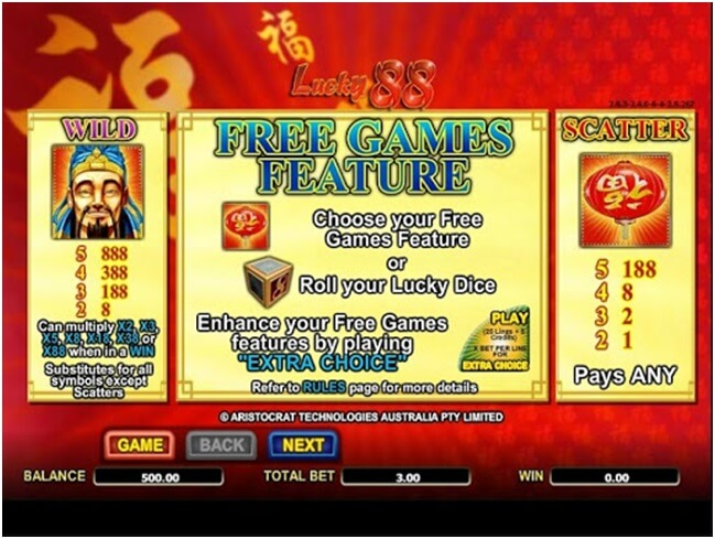Lucky 88 Free Games Feature
