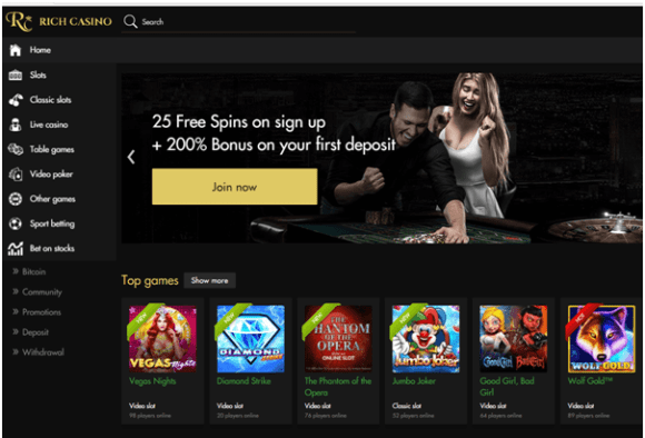 25 free spins at Rich Casino
