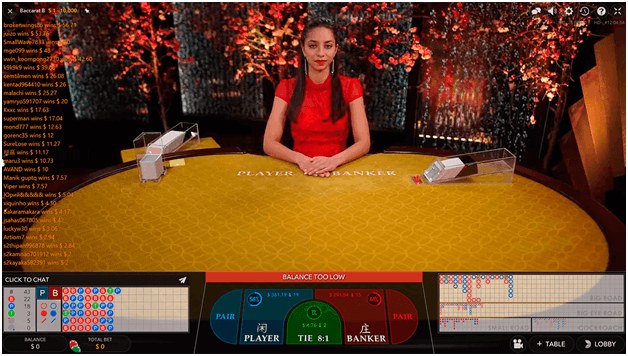 Winning potential in Live Baccarat