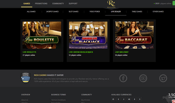 Live dealer games at Rich casino