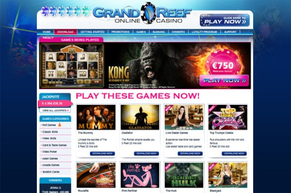 grand reef casino 750 welcome bonus