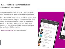 «io» App endlich auch für Windows Phone