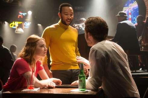 Mia (Emma Stone), Keith (John Legend), Sebastian (Ryan Gosling)