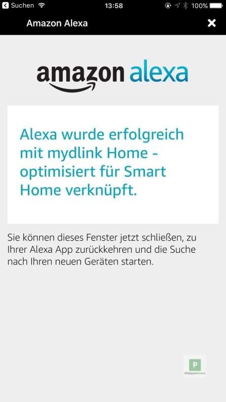 Erfolgreich geklappt mit der Verbindung zur Alexa