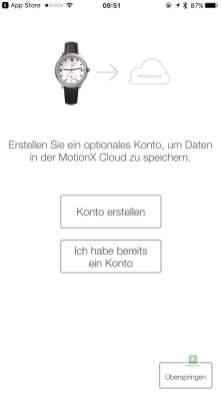Einrichten eines Cloud Accounts bei MotionX