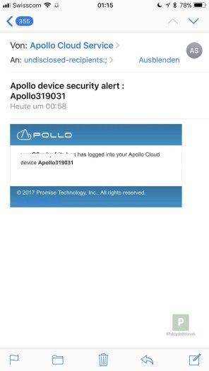 Warnungen per eMail wenn jemand Fremder/Neuer auf die Apollo zugreifen möchte