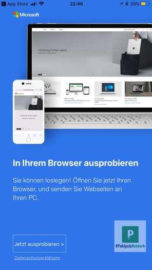 Übergabe an den Browser