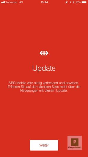Update in der SBB Preview App