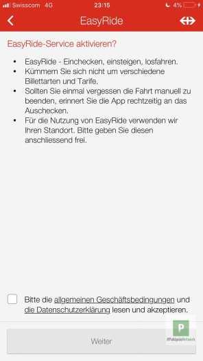EasyRide-Service aktivieren