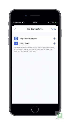 Siri Shortcuts festlegen