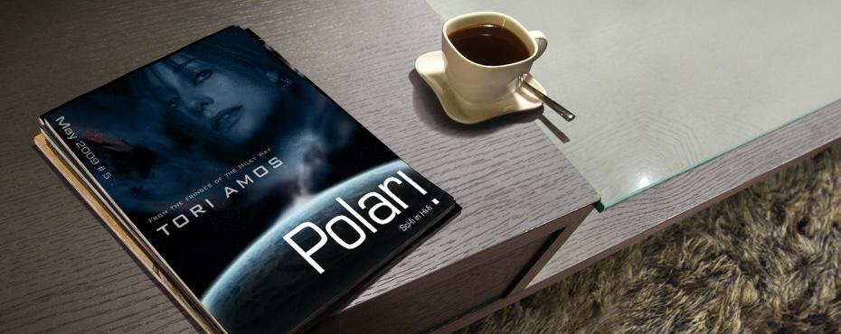 Polari Magazine, LGBT arts and culture magazine, with Tori Amos, on a coffee table