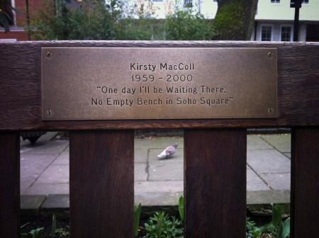 Kirsty MacColl Bench, Soho