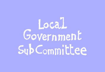"David Shenton cartoon title which reads ""Local Government Sub Committee"""