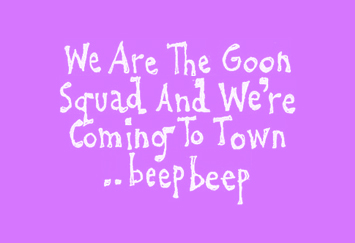 """David Shenton cartoon title which reads """"We Are The Goon Squad And We"""