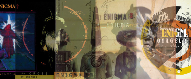 A montage image of the cover art of Enigma